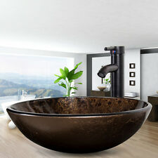 Bathroom Vessel Sink Drain Faucet Glass Vanity Combo Basin Bowl Tempered Round