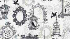 Dear Stella Ashe S372 Charcoal Bird Cages Bty Cotton Fabric FREE US SHIPPING