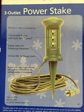 Woods Holiday Home Xmas Lights Outdoor Power Strip Stake 3 Outlet 15' Cord (#B-3