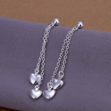 925Sterling Silver Fashion Jewelry Long String Heart Woman Earrings Dangle E248