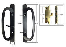 "Patio Door Handle Set with Mortise Lock, Black, Non-Keyed, 3-15/16"" Screw Holes"
