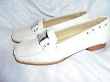 STUART WEITZMAN Mujer Cuero Blanco Slip On Court Shoe Talla UK 5.5 EU 38.5 en muy buena condición
