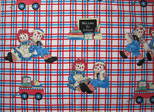"OOP!! RAGGEDY ANN/ANDY BACK TO SCHOOL APPLIQUE  COTTON FABRIC FQ - 18""X44"""