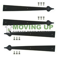 "Garage Door Decorative Hinges 18"" Black Set of 4 + Hardware"