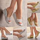 NEW Ladies Flip flop Wedges Womens Shimmer mules Low heel Shoes Sparkly H20255