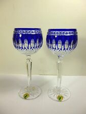 """WATERFORD COBALT BLUE CUT TO CLEAR CRYSTAL CLARENDON 2 WINE HOCKS GOBLETS 8""""TALL"""