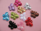 "55 Padded Sequin 1"" Butterfly Applique/bow-11 Colors"