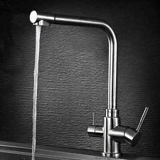 Stainless Steel 3Way Kitchen Sink Faucet Monobloc Pure Water Drinking Filter Tap