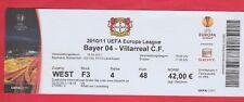 Orig.Ticket   Europa League  2010/11  BAYER 04 LEVERKUSEN - VILLARREAL CF  1/8 F