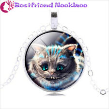 Alice in wonderland Cheshire Cat silver necklace for women men Jewelry#T21