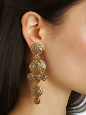 Oscar De La Renta Haute Couture Golden Swirl Drop Clip On Earrings - Classic