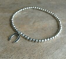 Simple Silver Ball Beaded Lucky Horse Shoe Charm Surfer Stretchy Bracelet Bangle