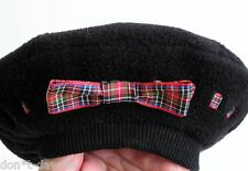 ✔️ American Girl Today Black Fleece Beret Tam Hat Red Plaid Tartan - Pleasant Co