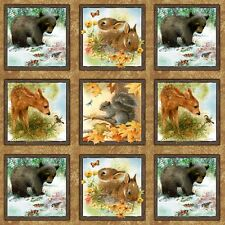 Four Seasons Wee Wild Life Panel -28 Panels Cotton Quilting Fabric-60cm x 110cm