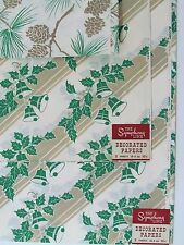 Vtg Holiday Christmas Wrap Paper 8 Sheets 20x30 Green Holly Bells Pine Cones