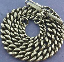 Heavy Antique English Hallmarked Solid Silver Albert Pocket Watch Chain c1895
