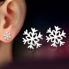 New Fashion 1 Pair 925 Silver Snowflake Shaped Ear Stud Earrings Jewelry Gift