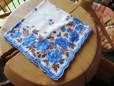 Vintage Blue Cornflowers with Scalloped Edge Printed Cotton Hankie