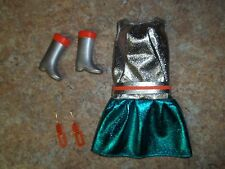 NEW & COMPLETE REPRODUCTION BARBIE ZOKKO OUTFIT-DRESS EARRINGS & BOOTS-REPRO