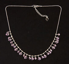 SASSY SILVER TONE 'BAUBLES' NECKLACE CHIC SPARKLY MAUVE BEADS CHARMS (ZX26)