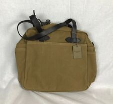 "NEW FILSON TOTE BAG W ZIPPER DARK TAN 70261 TWILL LEATHER CASE 15"" x 14"""