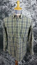 Mens S L.L. Bean green/blue plaid button front shirt small