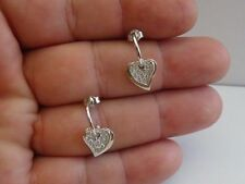 925 STERLING SILVER HEART SHAPE DANGLING EARRINGS W/.75 CT ACCENTS/ 21MM BY 9MM