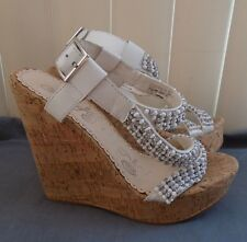 Naughty Monkey White w/ Silver Sugar Rush Platform Wedge Sandals Size 8 NWD $89