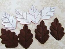60 Brown Suede & Silver Patent Leather Leaf Applique/trim/sewing/flower/bow L66