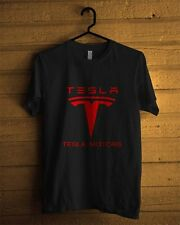 Tesla Motors Electric Car Logo Black T-Shirt Men or Women Clothing