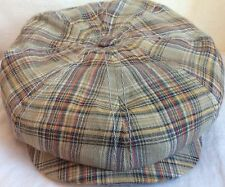 STETSON GERMANY HATTERAS BROWN 8/4 100% LINEN XXL 63CM PLAID NEWSBOY CABBY