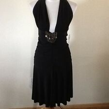 BLACKBERRY,BLACK HALTERNECK EMBELLISHED DRESS, SIZE UK 14/16, EU 42/44
