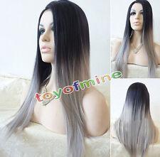 Donne del lungo rettilineo parrucca termoresistente nero Ombre grigio Parrucche
