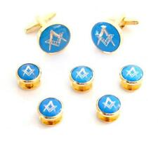 Blue & Gold Masonic CUFFLINKS & 5 Button Studs Mason Formal Birthday Present