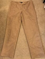 ETCETERA Carlisle Eccoci Dress Pants Tan Brown Wool Silk Lined Flat Front Sz 12