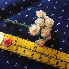"*10 Peach & Cream Roses*  3/8 "" across  Miniature Flowers - Barbie - Dollhouse"