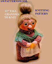 "GRANDMA 12"" DOLL/TOY  TO KNIT   KNITTING PATTERN  A4 REPRODUCTION PRINTOUT"