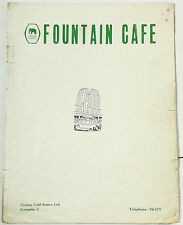 Original Vintage Menu FOUNTAIN CAFE Ceylon Cold Stores Colombo Sri Lanka Cola Ad