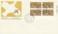 CANADA #854 17¢ ENDANGERED WILDLIFE LR INSCRIPTION BLOCK FIRST DAY COVER