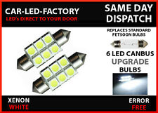 BMW E46 1999-05 6 LED CANBUS ERROR FREE NUMBER PLATE LED BULBS FETSOON 36mm C5W