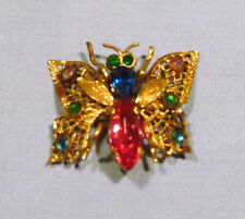 Vintage Czechoslovakia Gold Filigree Pink Green Rhinestone Butterfly Brooch Pin