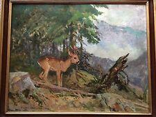 Osswald, Eugen. Rehkitz im Gebirge. Original-Gemälde. Öl auf Malpappe.