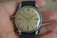 men's DOXA oversized huge vintage watch, 37 mm, very fascinating fancy lugs