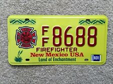 "NEW MEXICO  ""FIREFIGHTER""  souvenir / copy license plate"