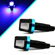 Blue 12V Motorcycle Handle Bar End LED Plug Turn Signal Light Side Marker Light