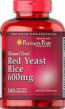 Red Yeast Rice 600 mg x 240 Capsules Puritan's Pride - LOWERS CHOLESTEROL!!!!