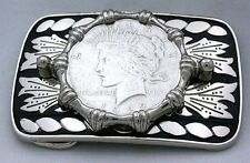 Silver Color Western  REAL 1922 Peace Silver Dollar Belt Buckle PBB75