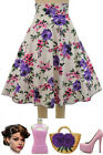 50s Style BOMBSHELL Pinup PINK & PURPLE ROSE FLORAL Print High Waist FULL Skirt