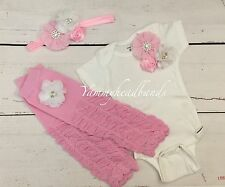 Baby Girl Take Me Home Outfit 0-3m 3 Pieces Set Leg Warmer Headband US Seller
