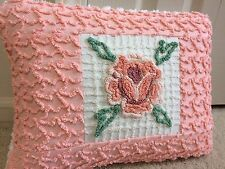 "Cabin Craft Peach Green Throw Pillow Case from Chenille Bedspread 12""X 16"""